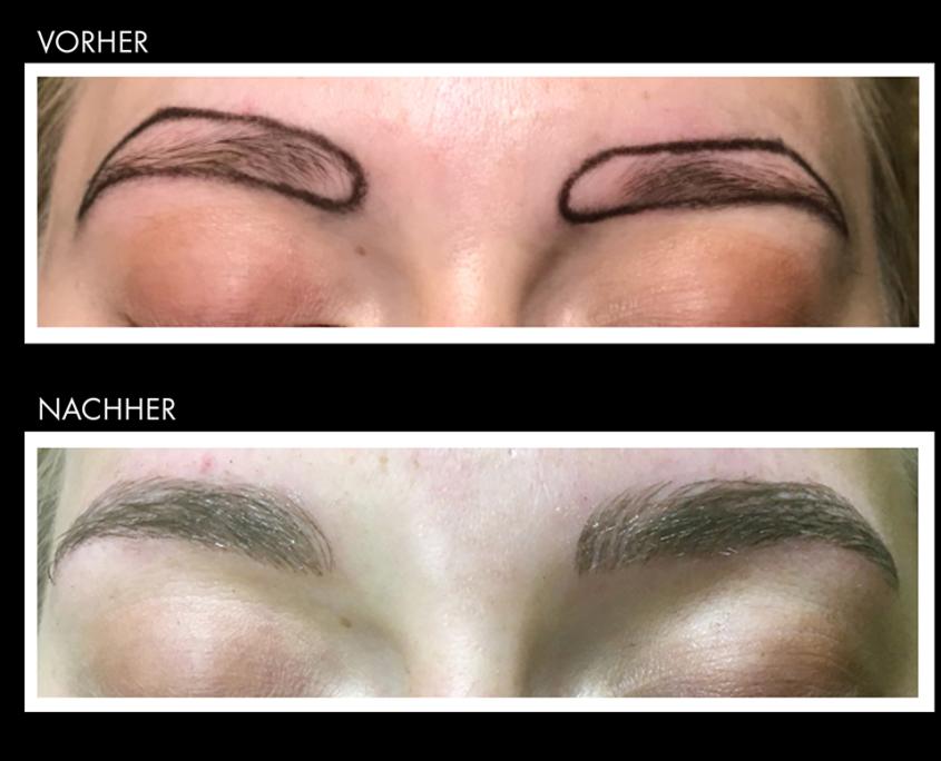 Vorher und nachher Darstellung von Augenbrauen bei der Behandlung der Augenbrauen durch Microblading.